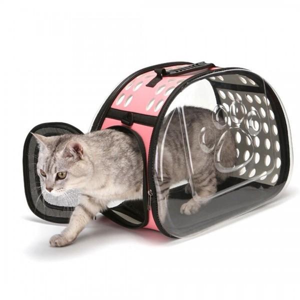 Cage de Transport pour Chat Imperméable avec Poignée et Bandoulière