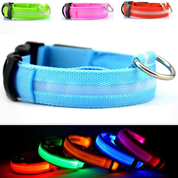 Collier de Sécurité LED en Nylon Réglable pour Chien